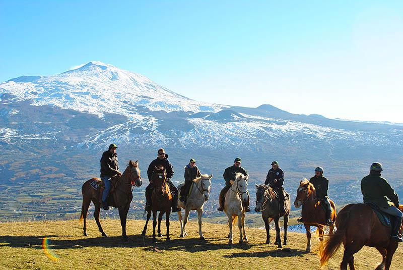 Mount Etna On Horseback