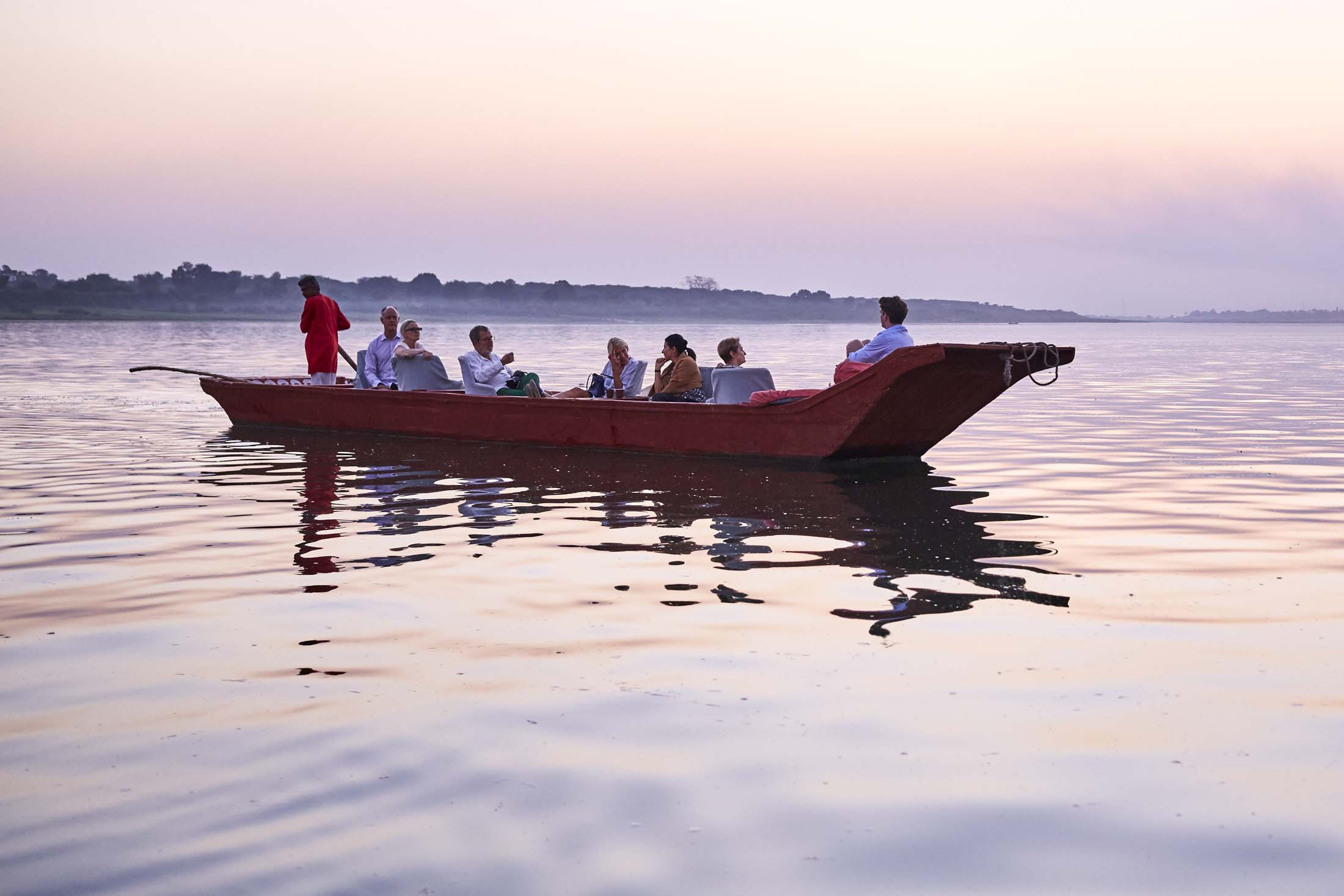 Prior Members On A Boat In Maheshwar Ahiyla Fort.